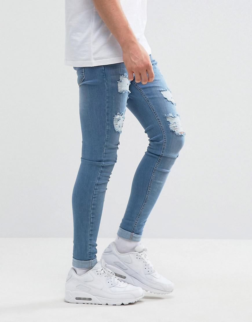 Bee Inspired Denim Super Skinny Jeans With Distressing In Light Blue for Men