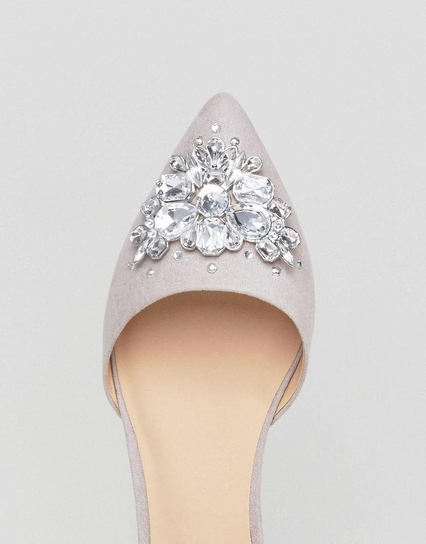 6da6d8f310b6 Lyst - New Look Jewelled 2 Part Pointed Flat Shoe in Gray