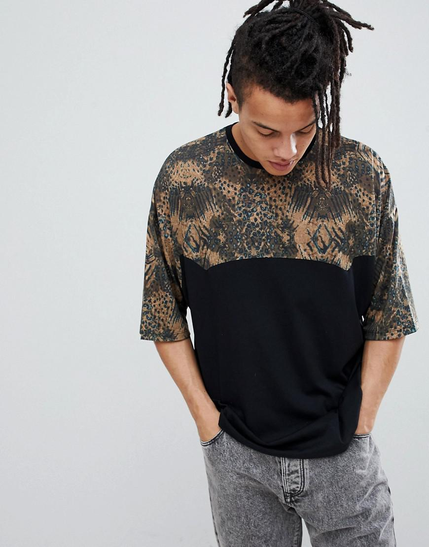 6fd004a5b5eb Lyst - Asos Oversized T-shirt With Leopard Print Panels in Black for Men