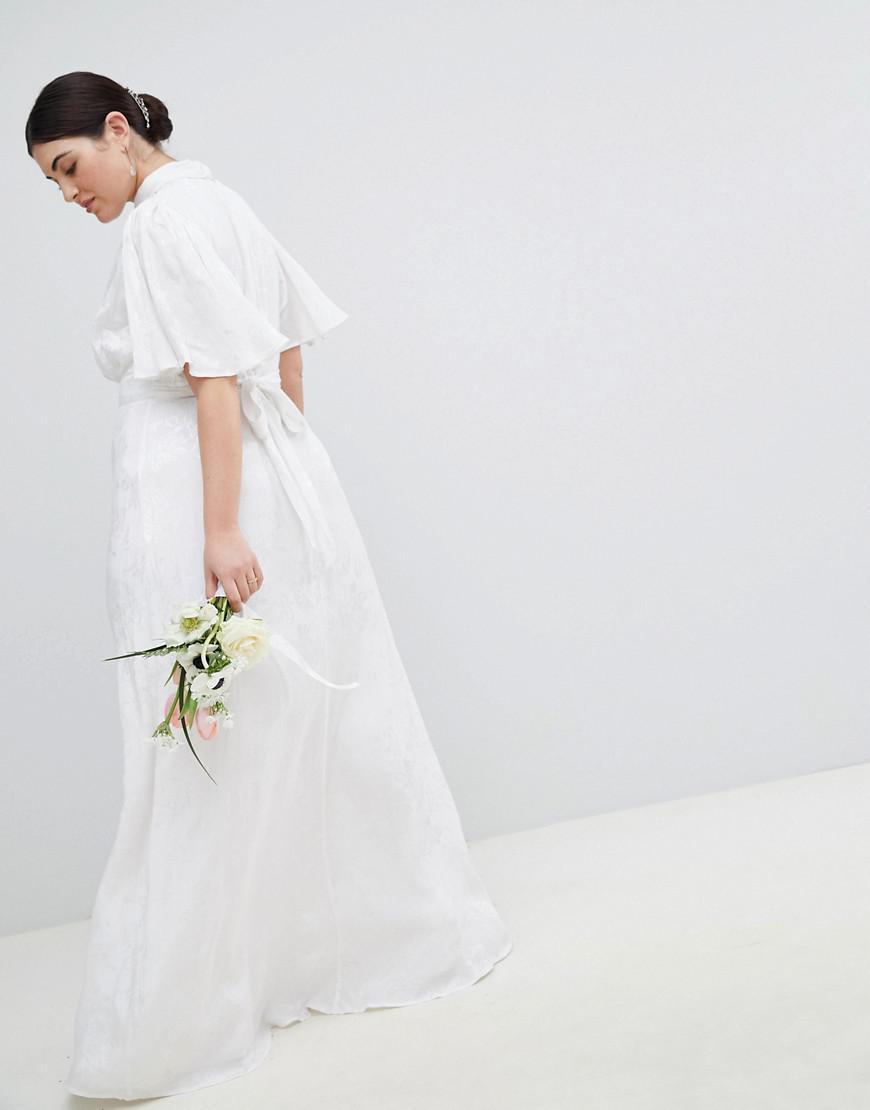 6bd7bfe3c ASOS Asos Edition Curve Wedding Dress In Soft Jacquard With Flutter ...
