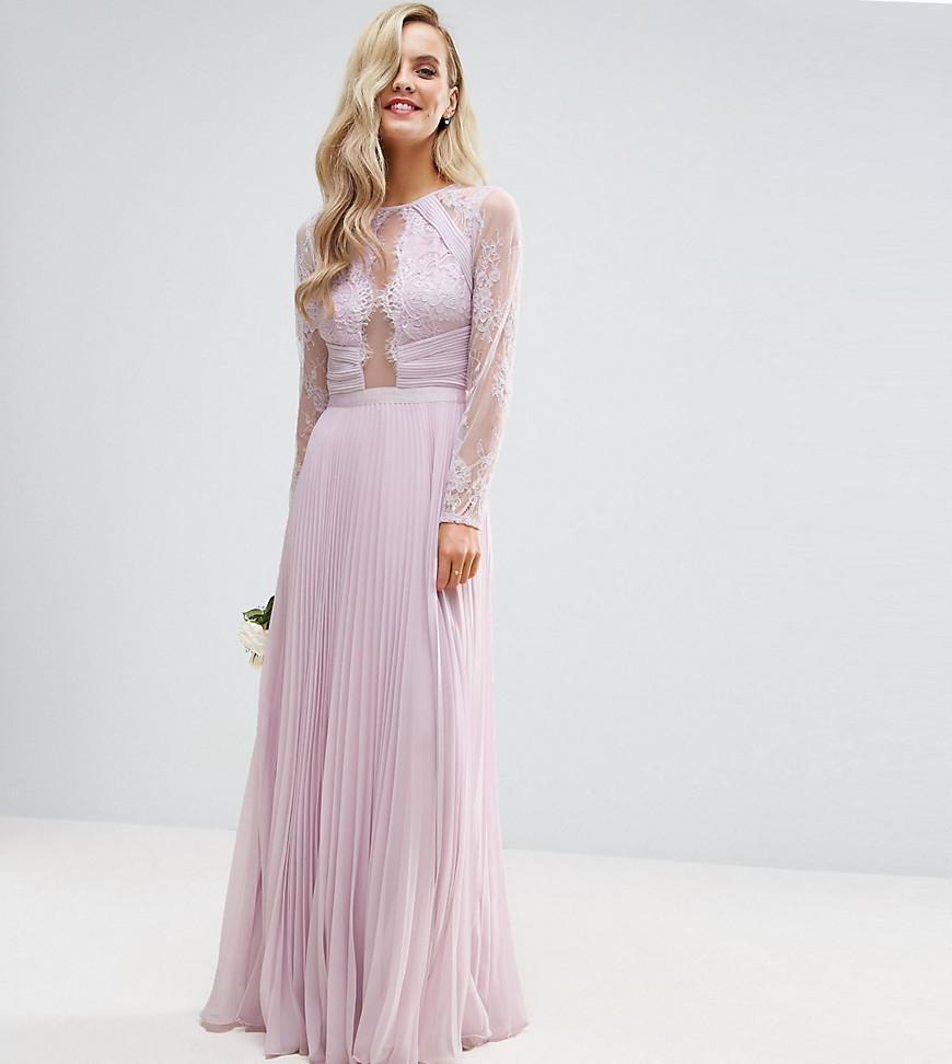 ASOS Wedding Pretty Lace Eyelash Pleated Maxi Dress In