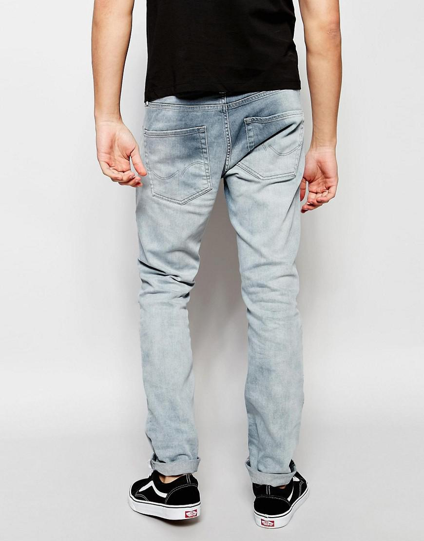 Jack & Jones Denim Washed Grey Jeans In Slim Fit With Stretch in Grey for Men