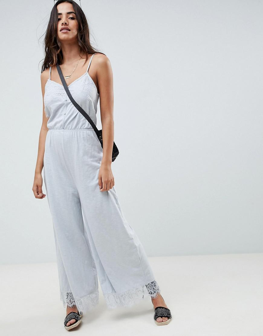 06f1476825c ASOS Cami Jersey Jumpsuit With Lace Trim And Button Front in Gray - Lyst