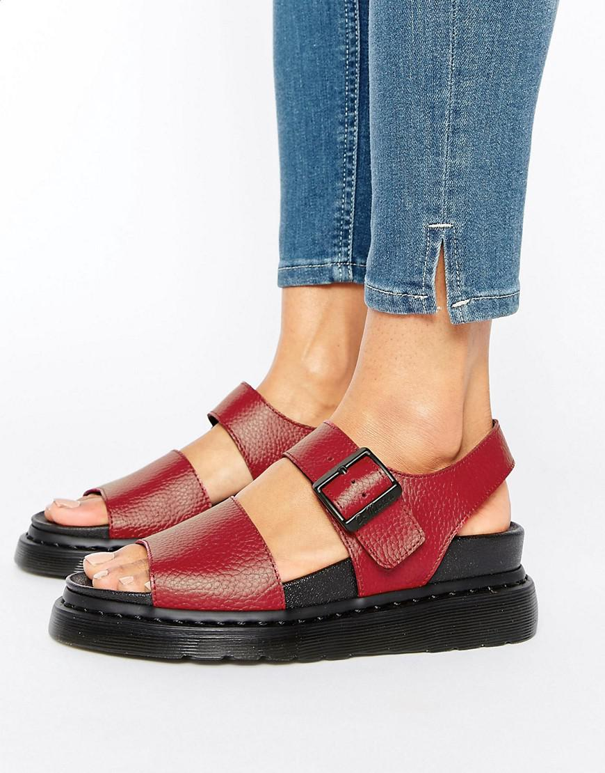 Dr Martens Romi Red Leather Strap Flat Sandals Lyst