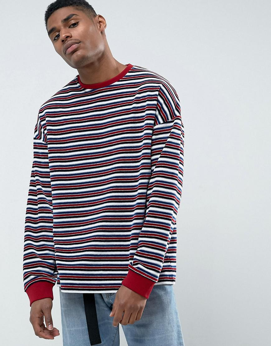 Outlet Looking For DESIGN Oversized Shirt in Blue and Pink Stripe - Multi Asos Buy Cheap Big Discount PYXl1C3