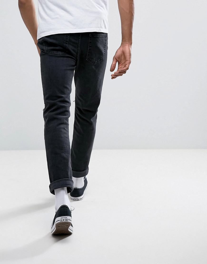 Abercrombie & Fitch Denim Slim Fit Jeans In Destroyed Black Wash for Men