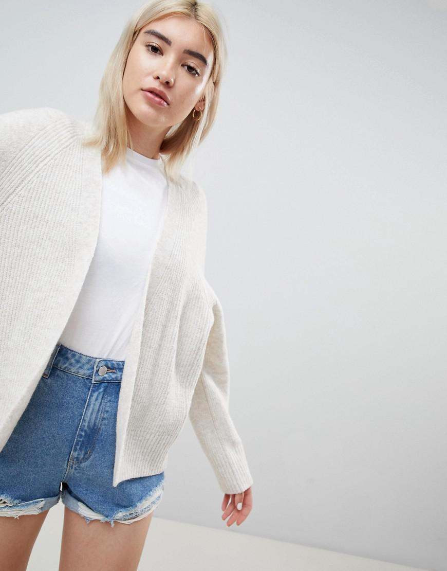 757bb11e6 Lyst - ASOS Eco Cardigan In Fluffy Yarn in Natural