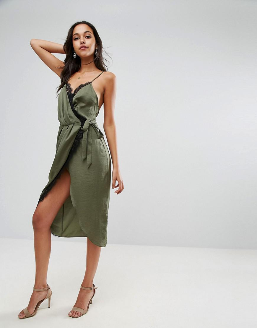 lyst asos hammered satin lace trim cami sexy wrap midi dress in green save 24. Black Bedroom Furniture Sets. Home Design Ideas