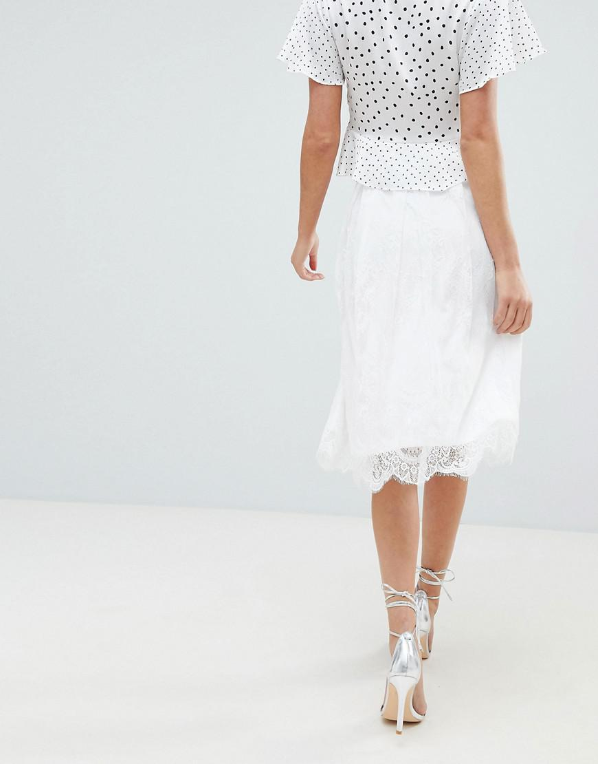 b045b0021 Lyst - Liquorish Lace Prom Skirt in White