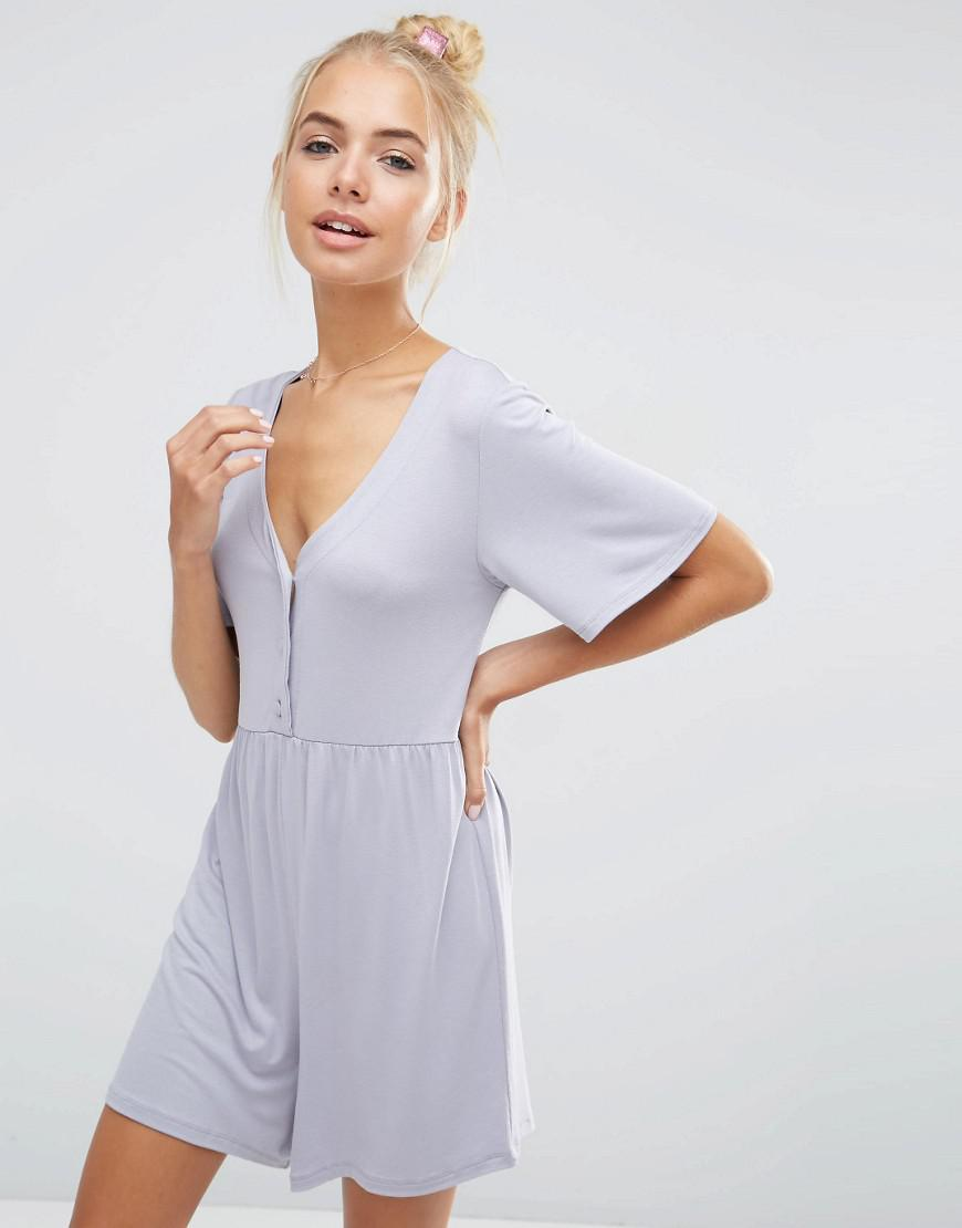 e20d25e660f Lyst - Asos Jersey Smock Playsuit in Blue