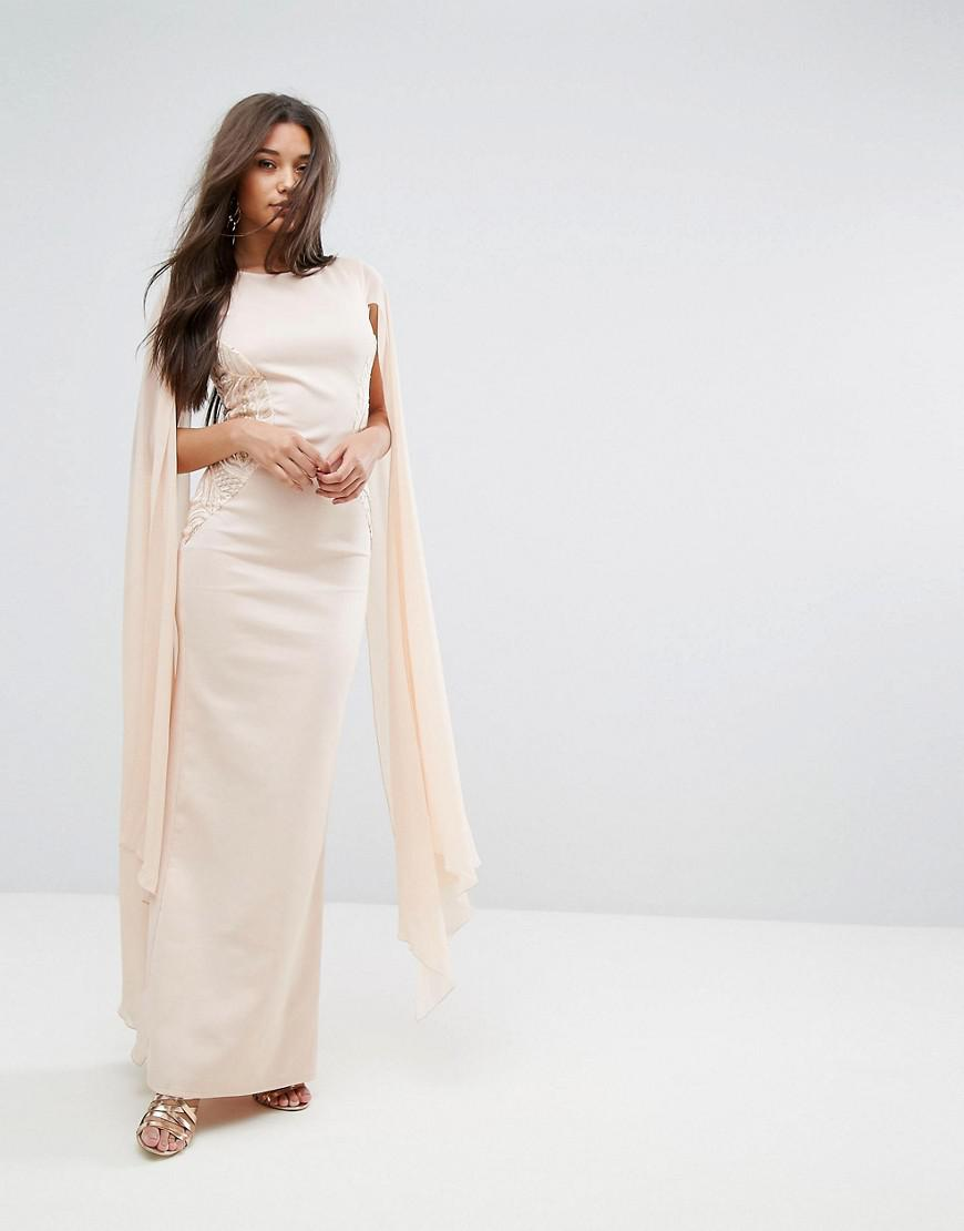 2b979dffc2 Lyst - Lipsy Cape Detail Maxi Dress in Pink