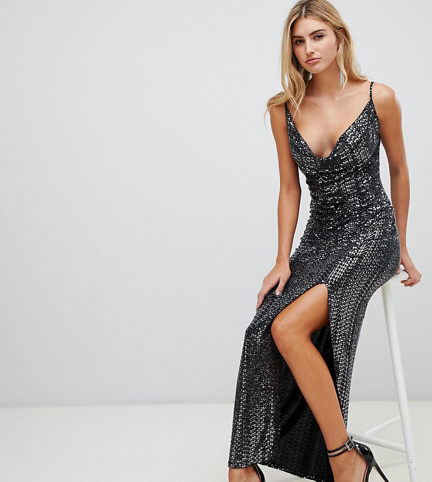 ad6fc49bed2 Missguided - Sequin Cowl Neck Maxi Dress With Side Split In Black - Lyst.  View fullscreen