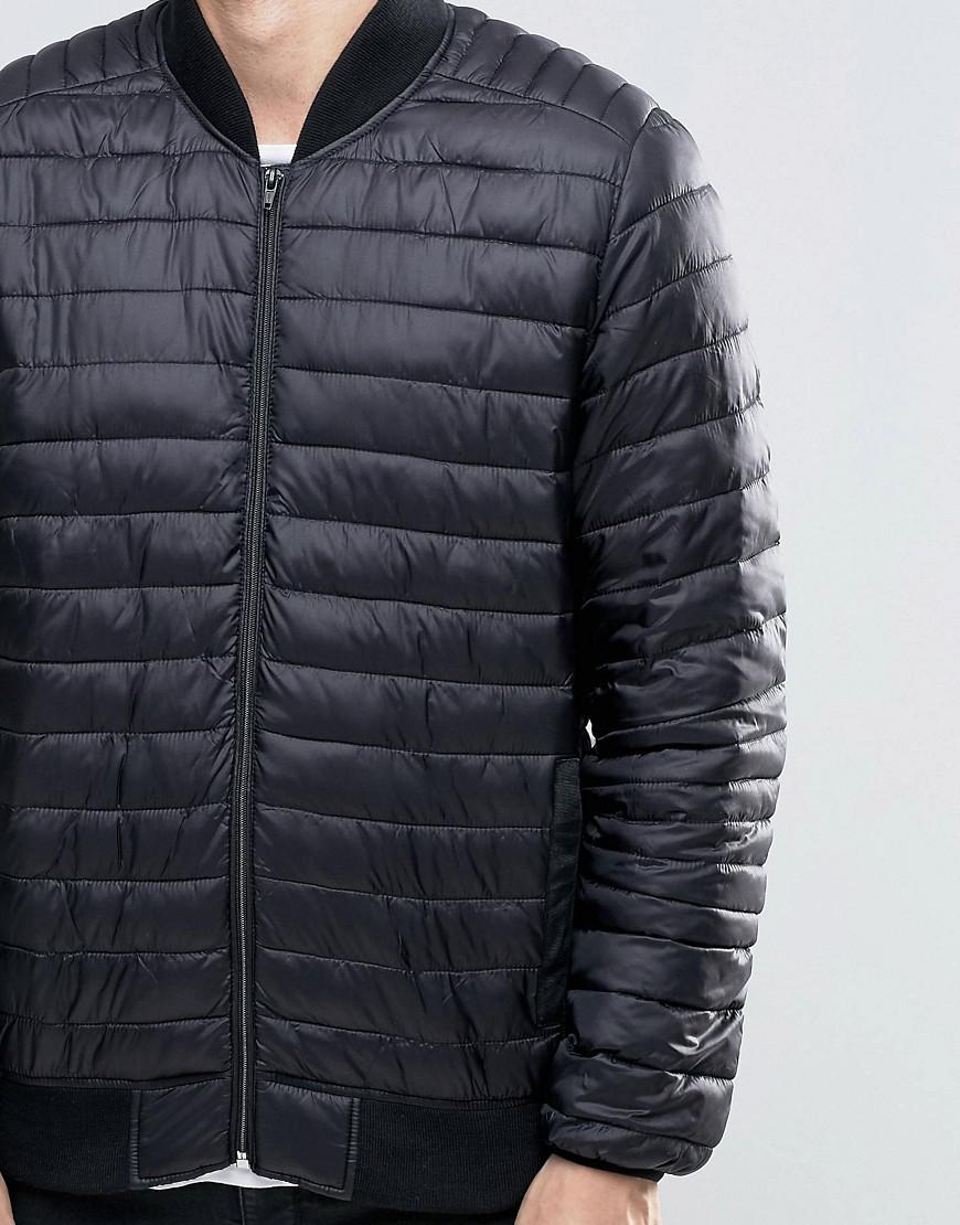 ASOS Synthetic Quilted Bomber Jacket In Black for Men