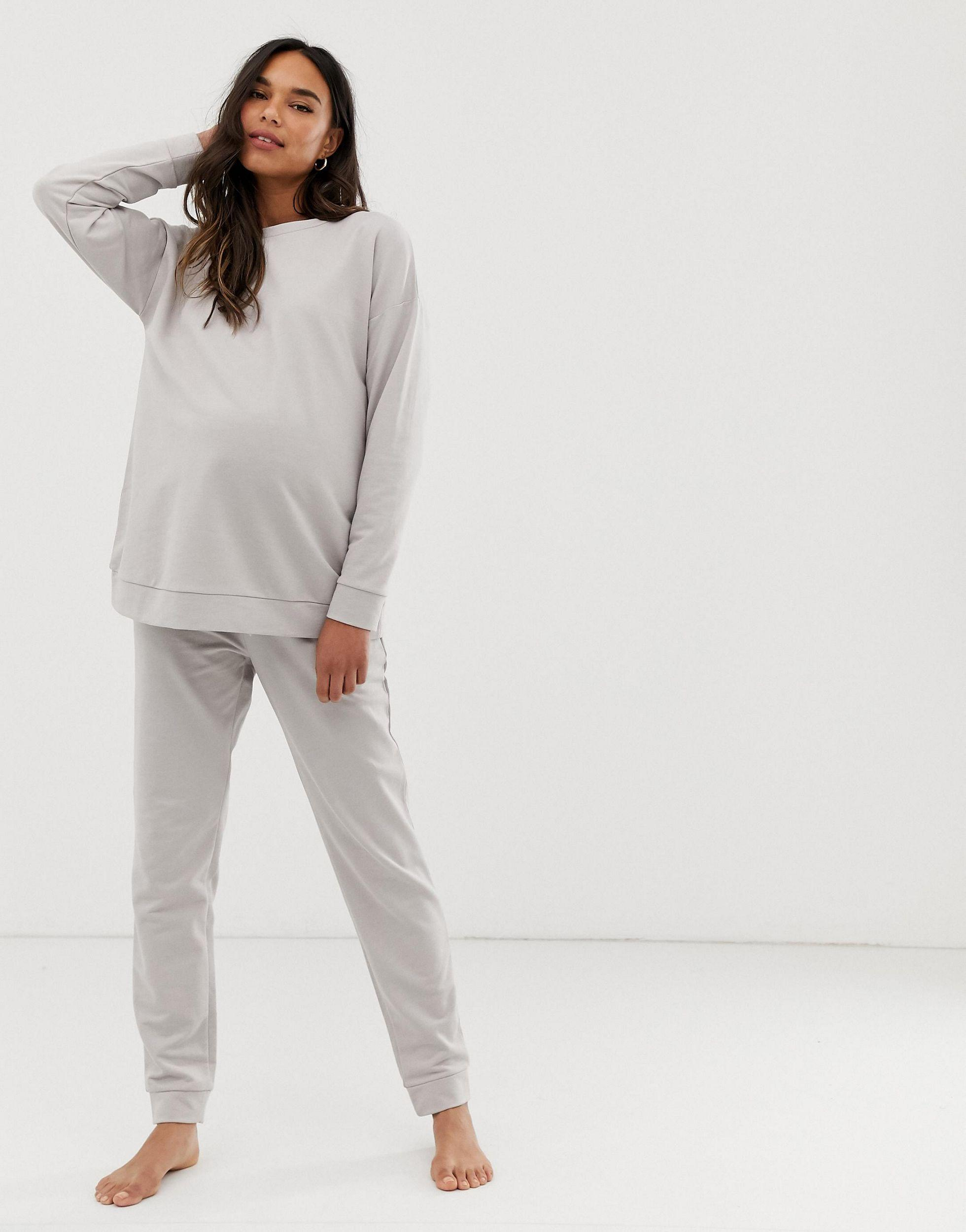 ASOS DESIGN Maternity - Ultimate - Sweat-shirt confort Coton ASOS en coloris Gris