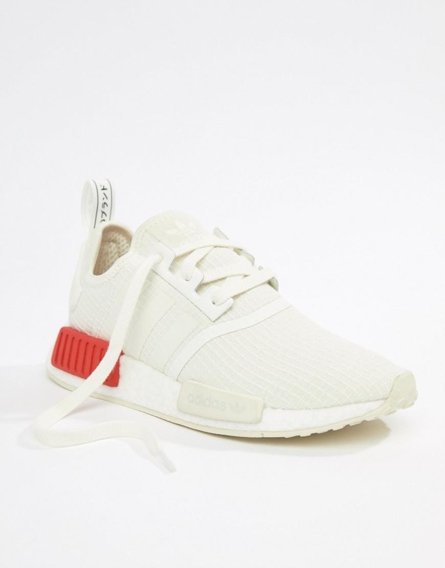 ac062af69 Lyst - adidas Originals Nmd R1 Trainers In White With Red Heel Block in  White