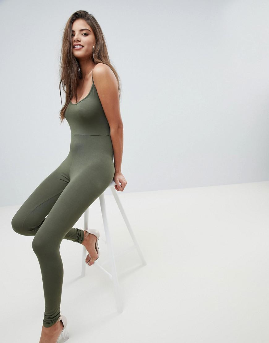 4d39bafd04ee Prettylittlething Cami Strap Jumpsuit in Green - Lyst