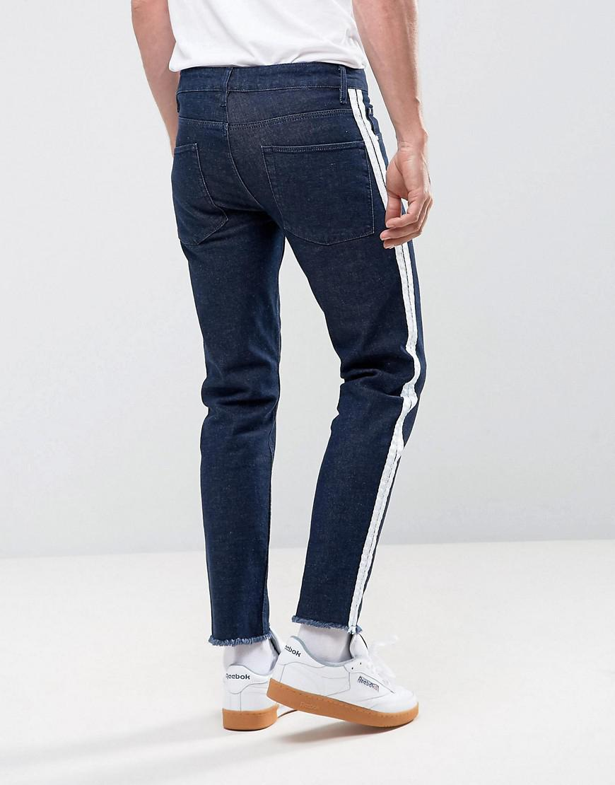 ASOS Denim Stretch Slim Jeans In Indigo With Retro Side Stripe And Raw Hem in Blue for Men