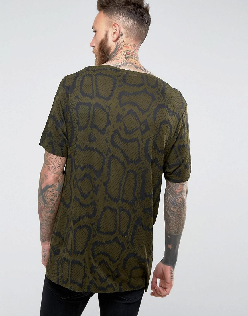 Lyst asos bamboo jersey longline t shirt with all over for Bamboo t shirt printing