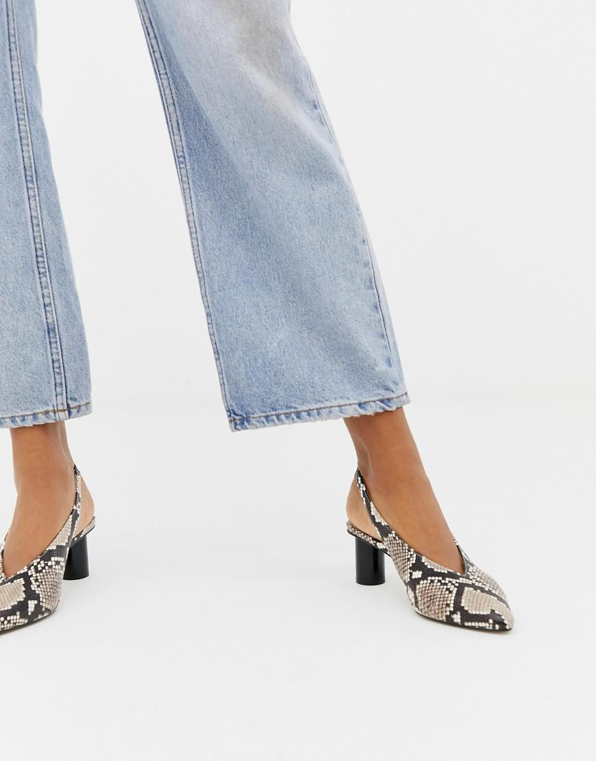 frase Laboratorio gatear  Office Leather Mischief Snake Effect Slingback Heeled Shoes - Lyst