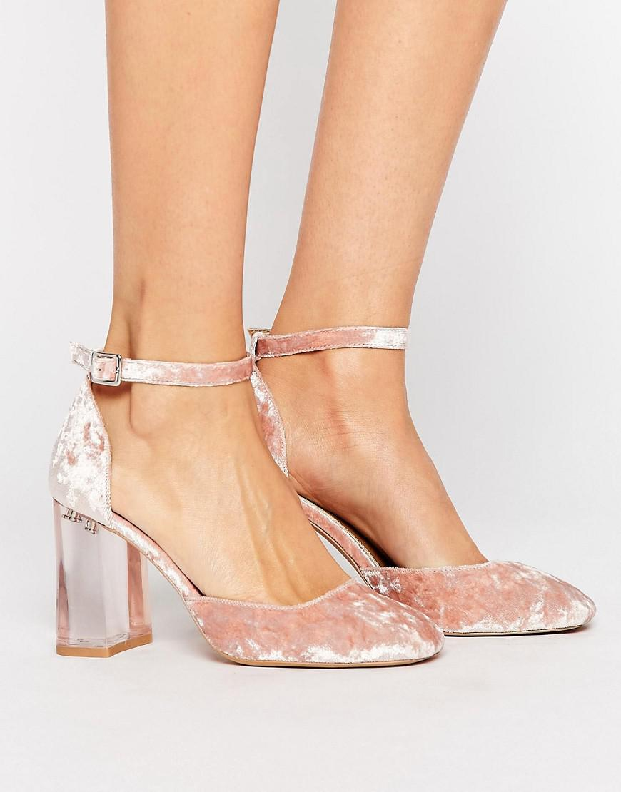 8005c4514e6 ASOS Prima Donna Clear Block Heels in Pink - Lyst