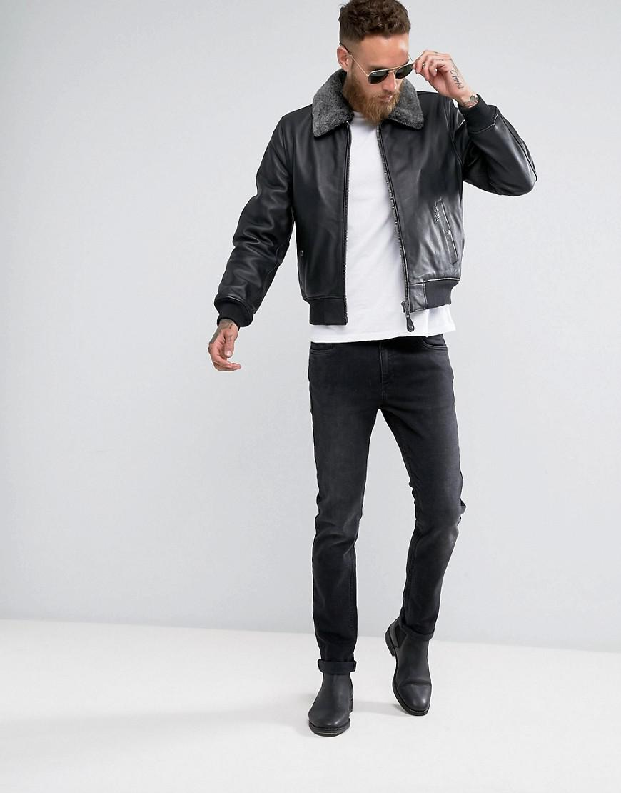 Schott Nyc Leather Flight Jacket Detachable Faux Fur Collar Slim Fit In Black for Men