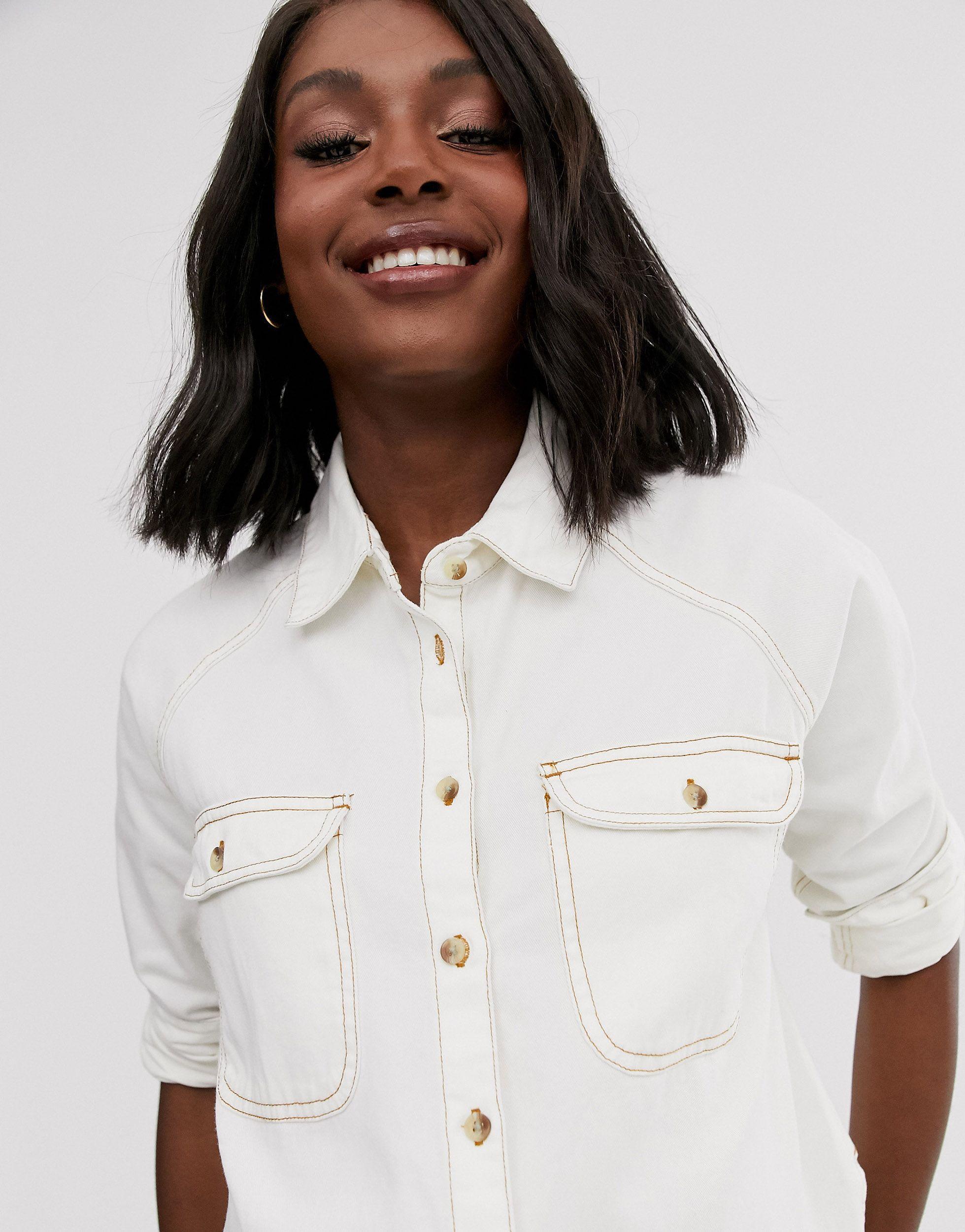 ASOS DESIGN Maternity - Chemise en jean décontractée Jean ASOS en coloris Blanc