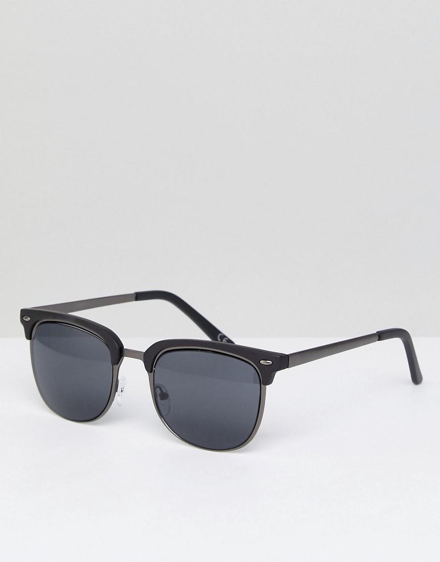 dd9e5f22d0 Lyst - ASOS Retro Sunglasses In Gunmetal   Matte Black in Metallic ...