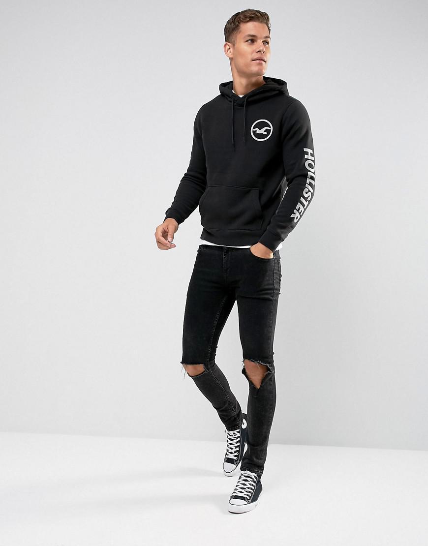 Hollister Cotton Hoodie Athletic Print Logo In Black for Men