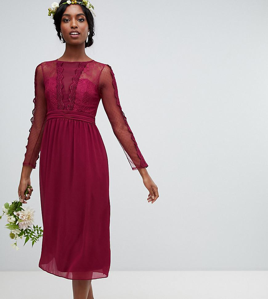bcd249df803 TFNC London Lace Detail Bridesmaid Midi Dress In Burgundy in Red - Lyst