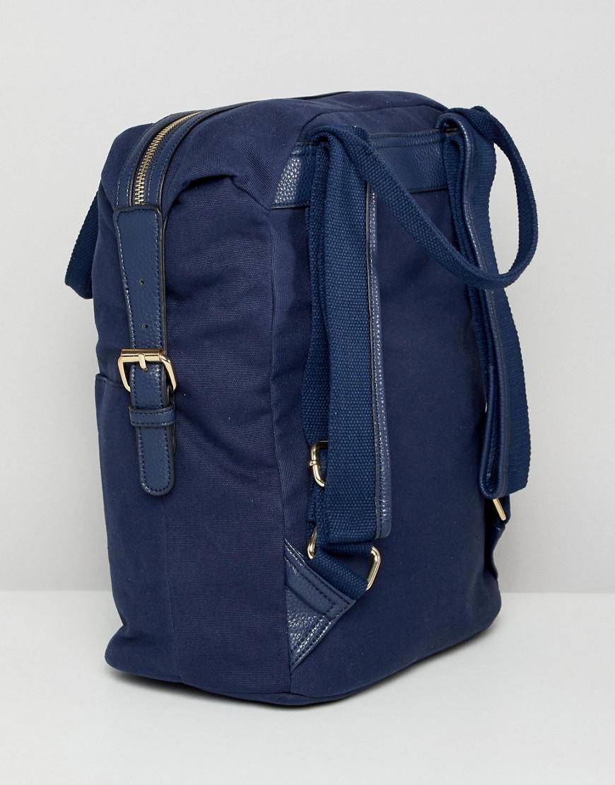 ASOS Denim Zip Over Canvas Backpack With Double Handle in Navy (Blue)