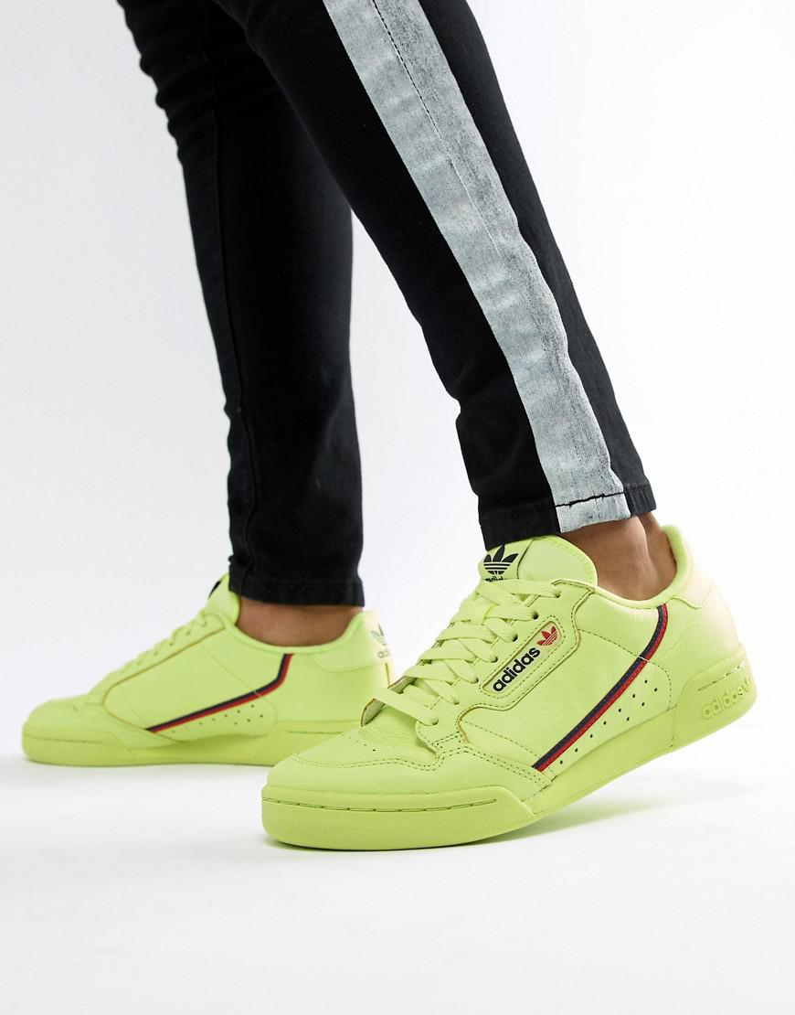 Adidas Originals Continental 80's Trainers In Yellow B41675 for men