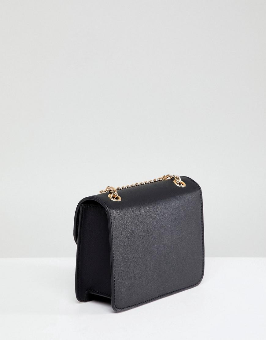 ASOS Denim Ring And Ball Cross Body Bag With Chain Strap in Black