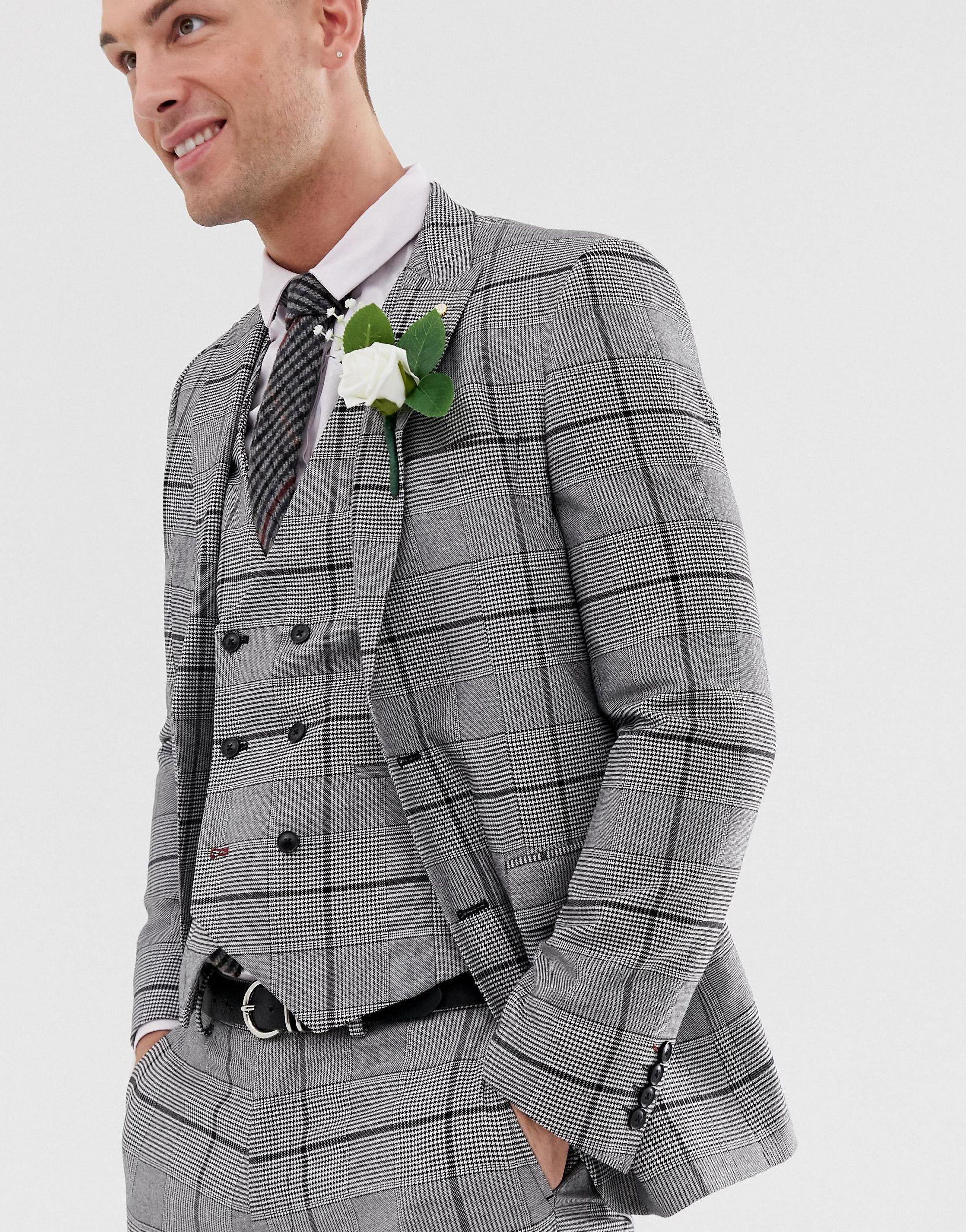 Burton Synthetisch Bruiloft - Geruit Colbert in het Zwart voor heren