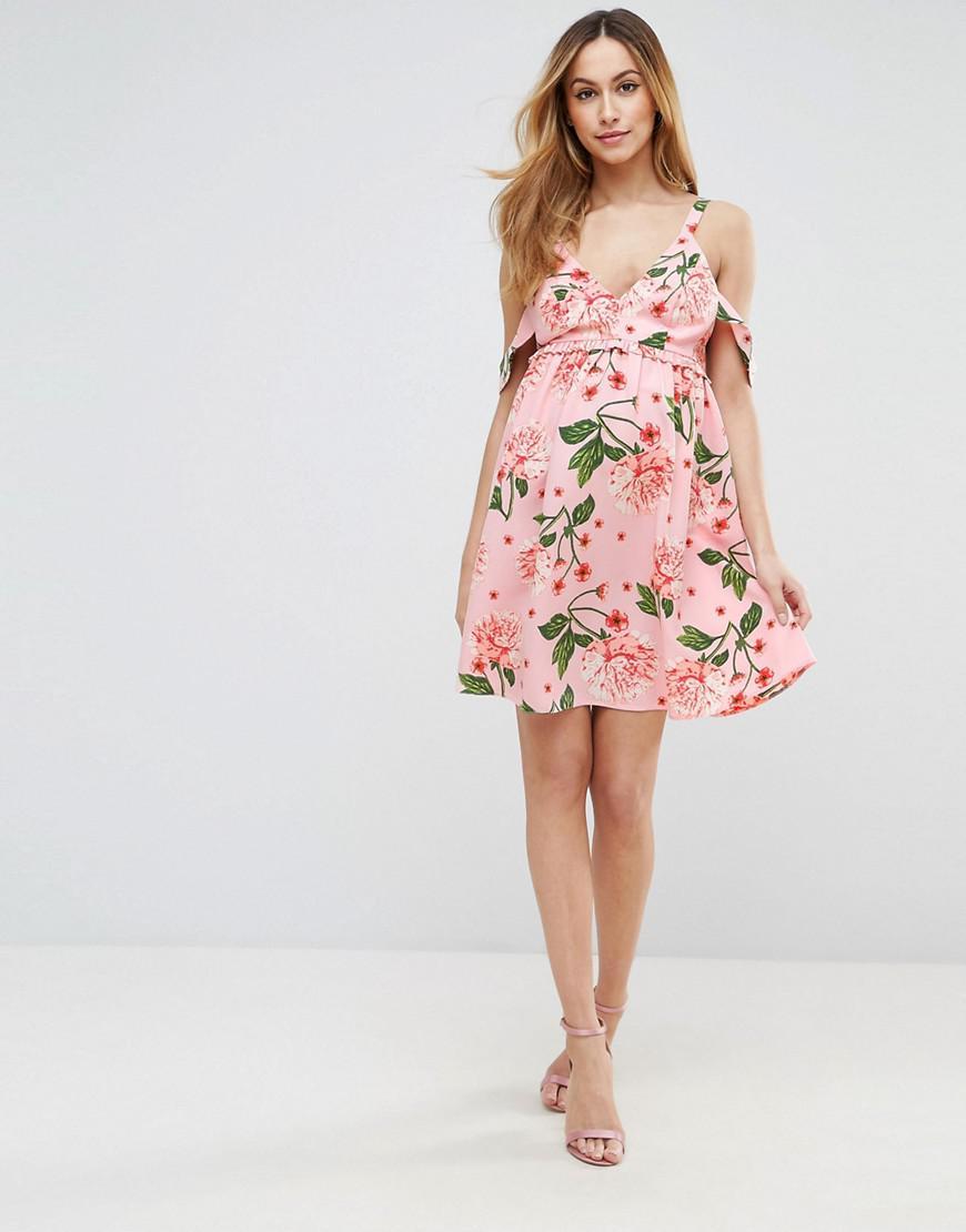 Lyst - Asos Pretty Floral Cold Shoulder Mini Smock Dress ...