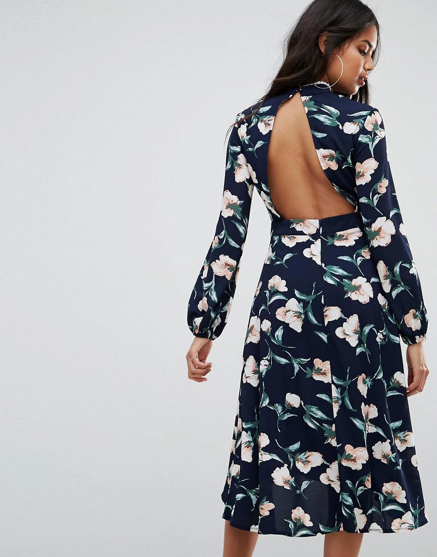 Lace Trim Open Back Midi Dress