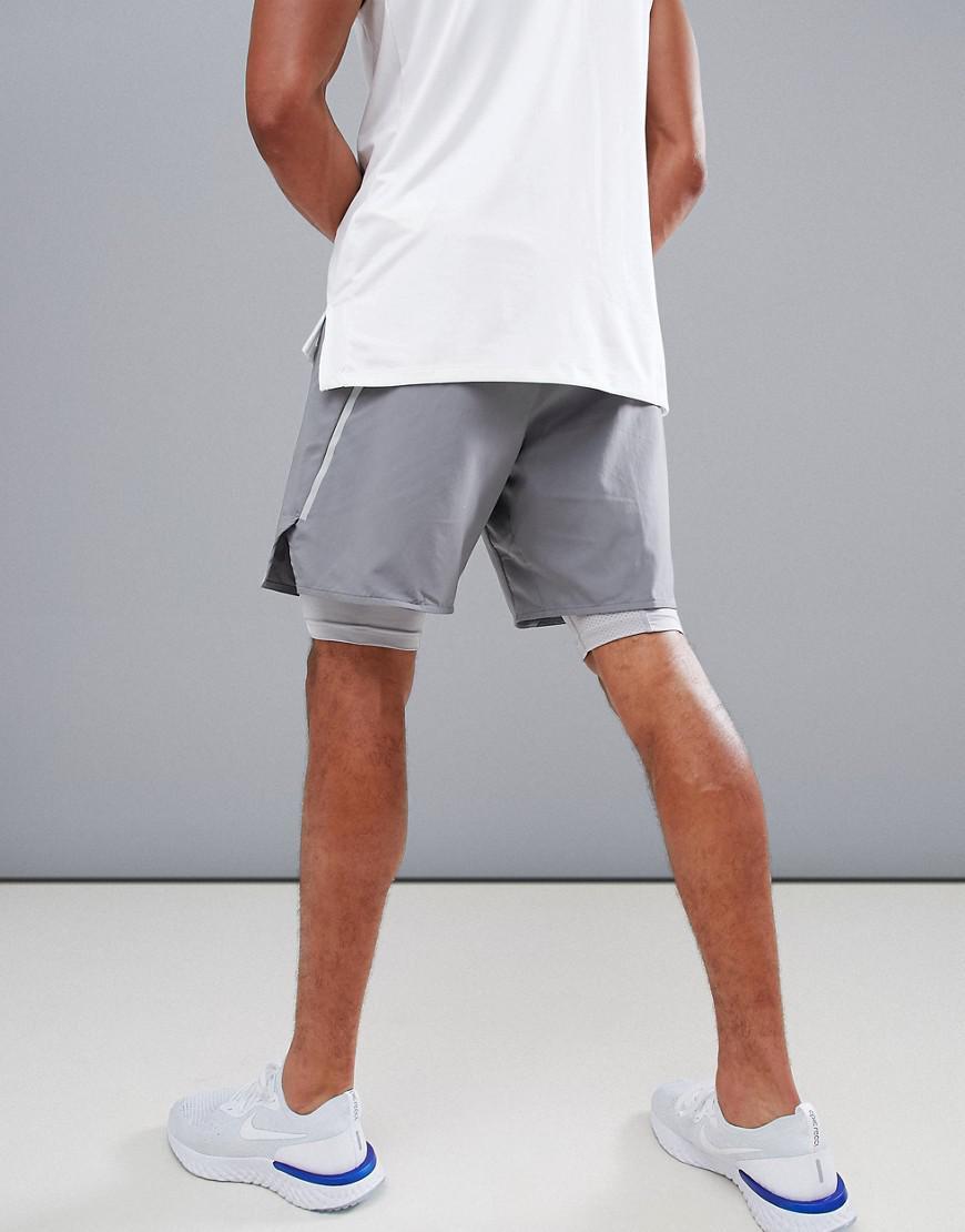 be98b8f0df2 Nike Purple Flex Distance 7 Inch 2-in-1 Shorts In Grey 892905-036 for men
