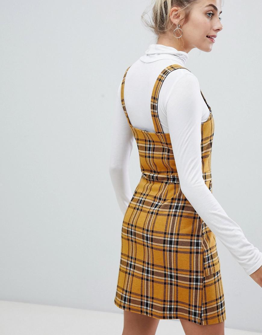 12f1ae4afa7 Bershka Check Print Strappy Dress In Mustard in Brown - Lyst