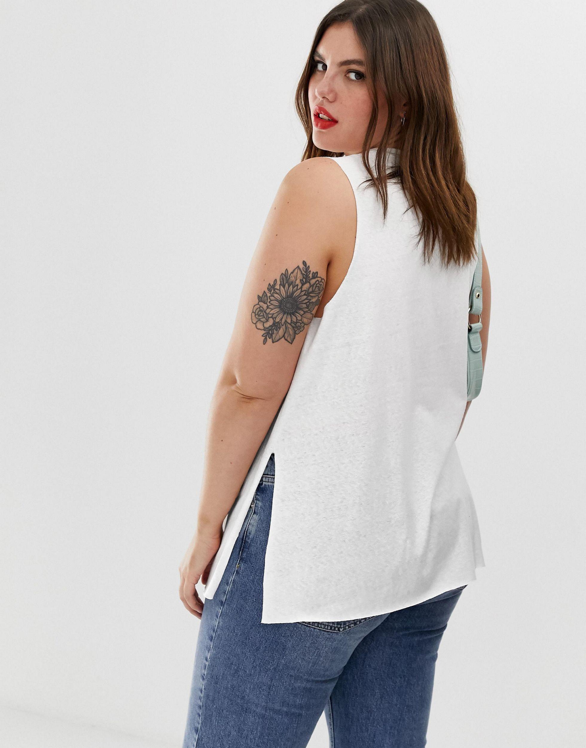 ASOS DESIGN Curve - Top sans manches en lin mélangé avec fente sur le côté Lin ASOS en coloris Blanc