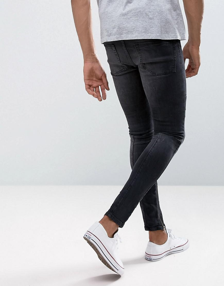 New Look Denim Skinny Jeans With Rips And Zip Hem In Washed Black for Men