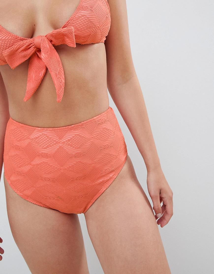 a3cb3968aa8762 Lyst - ASOS Mix And Match Crochet High Waist Bikini Bottom in Orange