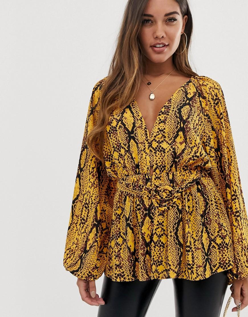 9d5303601a497 ASOS. Women s Brown Long Sleeve Plunge Top With Kimono Sleeve And Belt In  Snake Animal Print