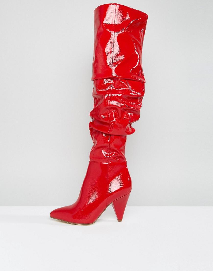 Miss Selfridge Over The Knee Patent Boot CsxSA