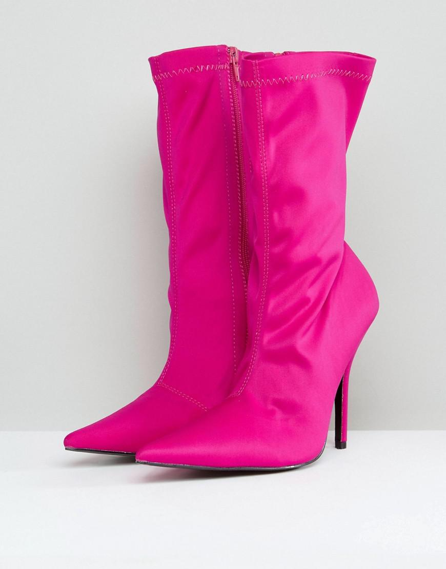 Public Desire Synthetic Danger Heeled Ankle Boots in Pink