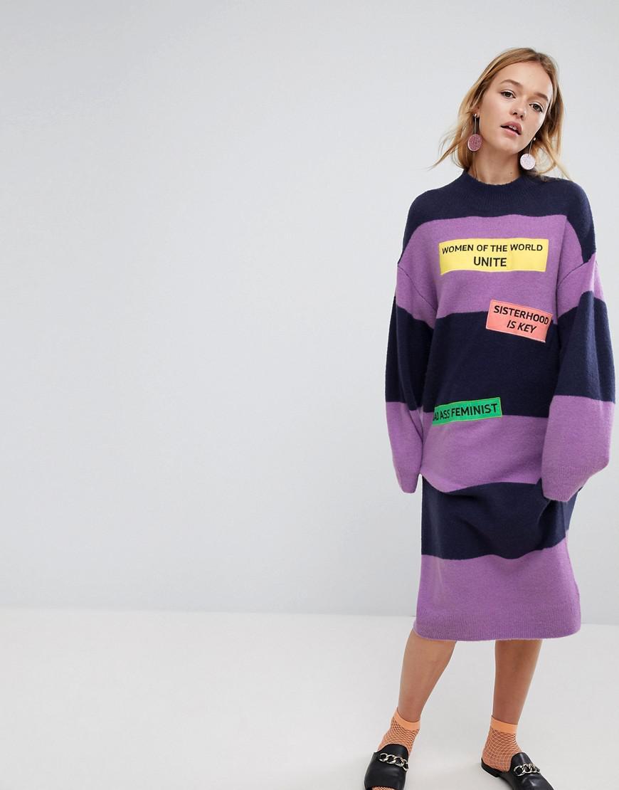 details for pretty cheap sophisticated technologies Monki Wool Stripe Women Unite Slogan Jumper Dress in Purple ...