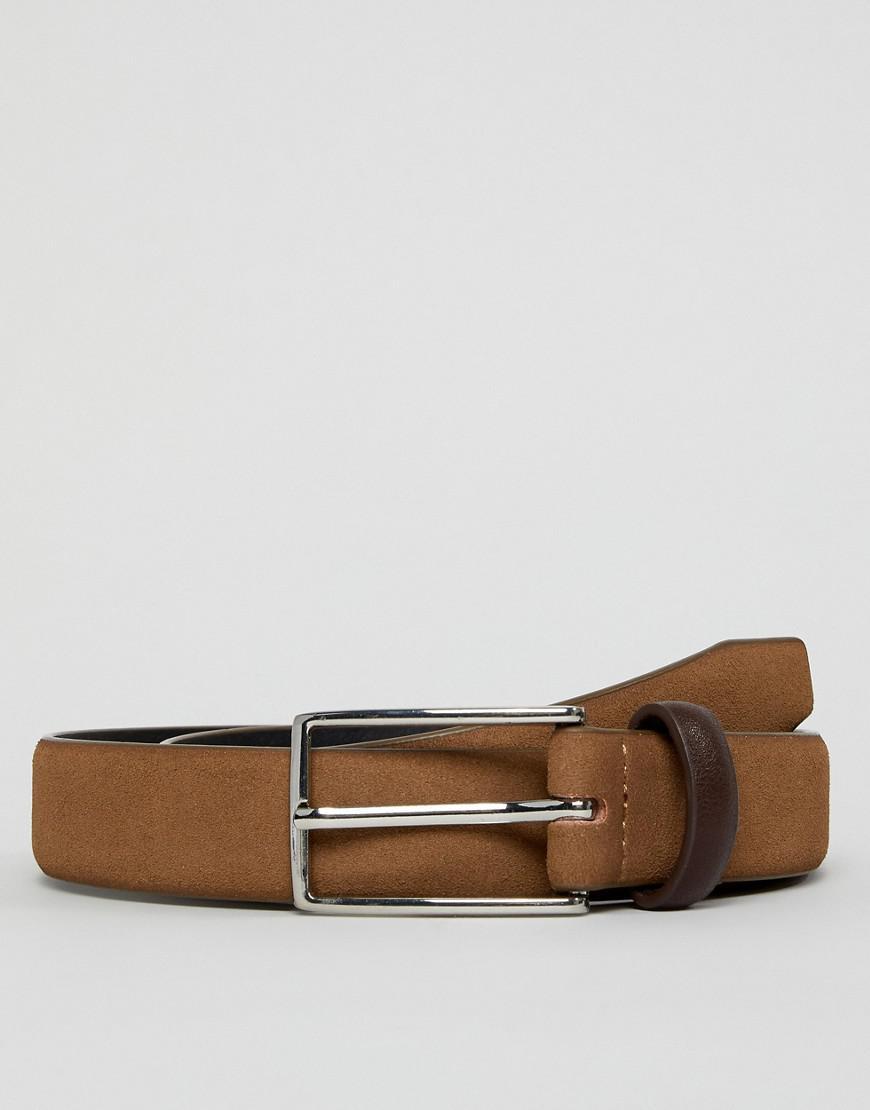 52daca7fdff Lyst - ASOS Faux Suede Slim Belt In Tan With Contrast Brown Keeper ...