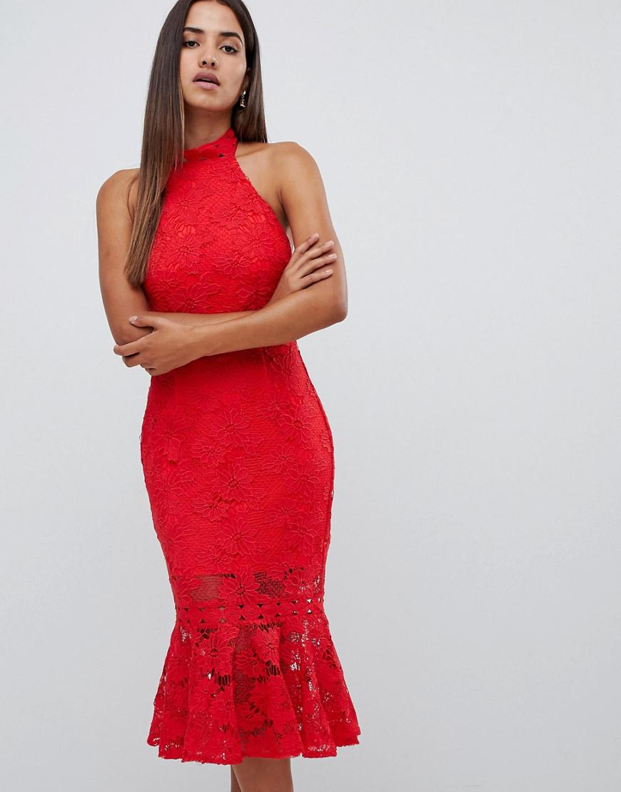 61bb684b3b Love Triangle. Women s All Over High Neck Cut Work Lace High Neck Dress  With Scallop Back In Red.  92  64 From ASOS