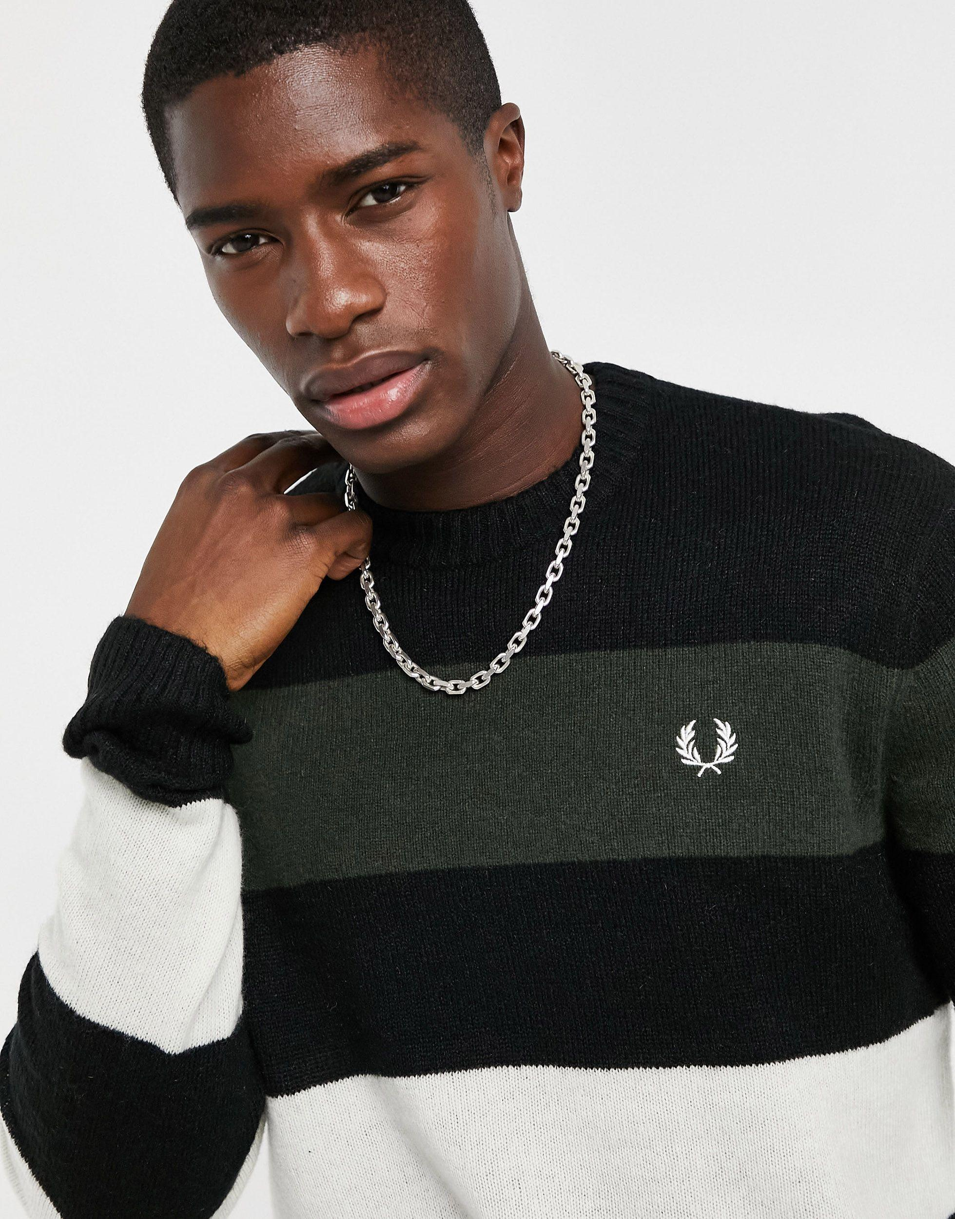 Black Fred Perry L//S Zip Neck Knitted Shirt