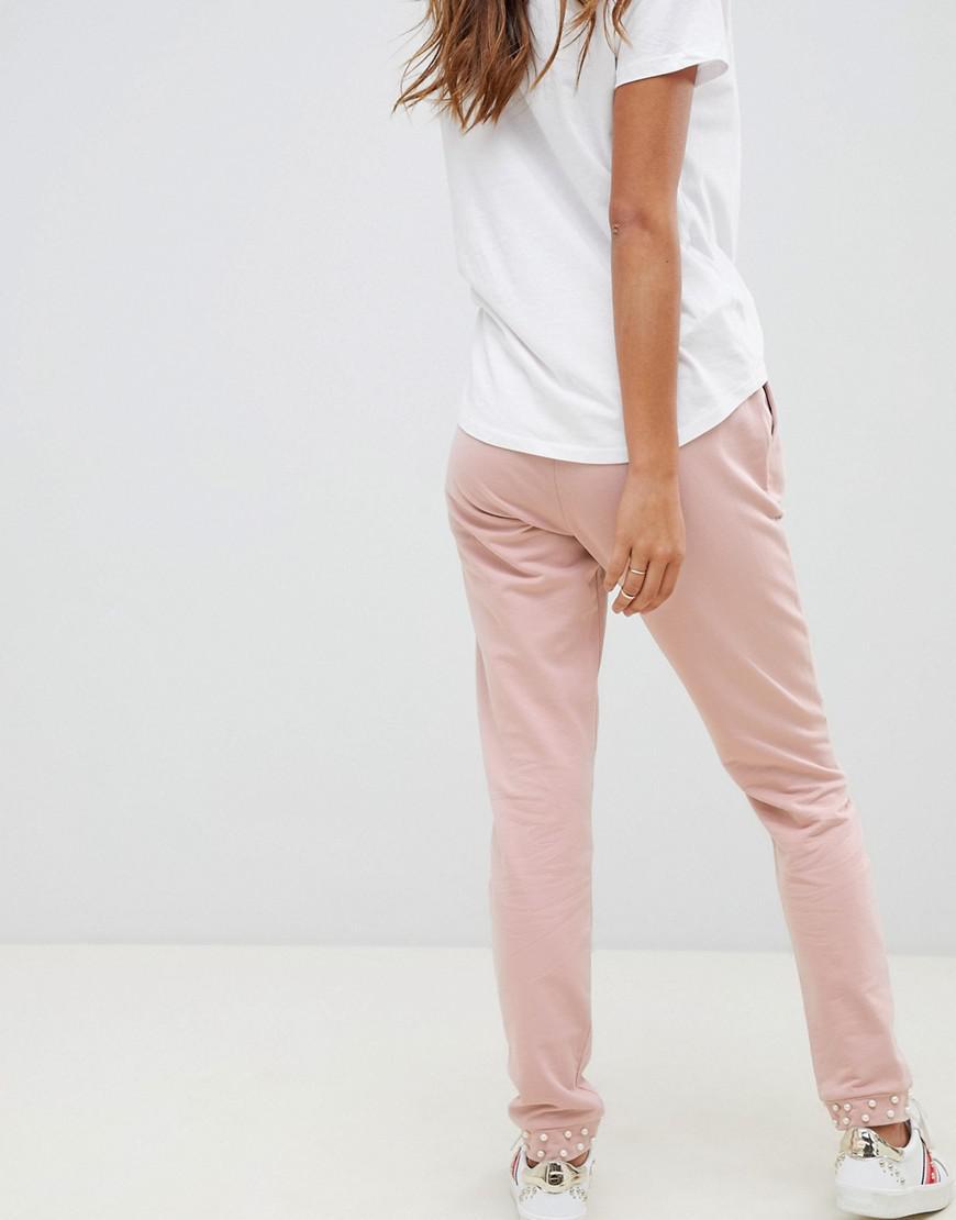 Lyst - Pantalon de jogging avec ourlet resserr aux chevilles et perles ASOS  en coloris Rose d9e8f042408
