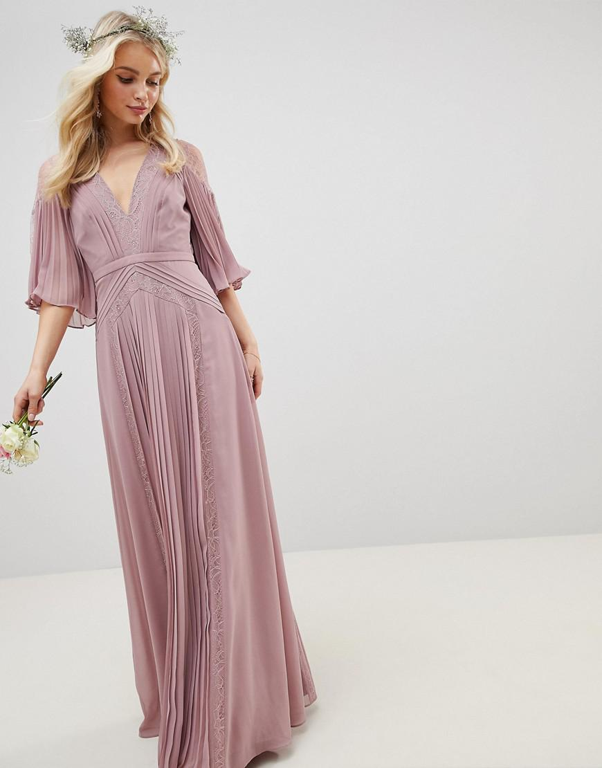 67a573d59d55 ASOS Pleated Paneled Flutter Sleeve Maxi Dress With Lace Inserts in ...