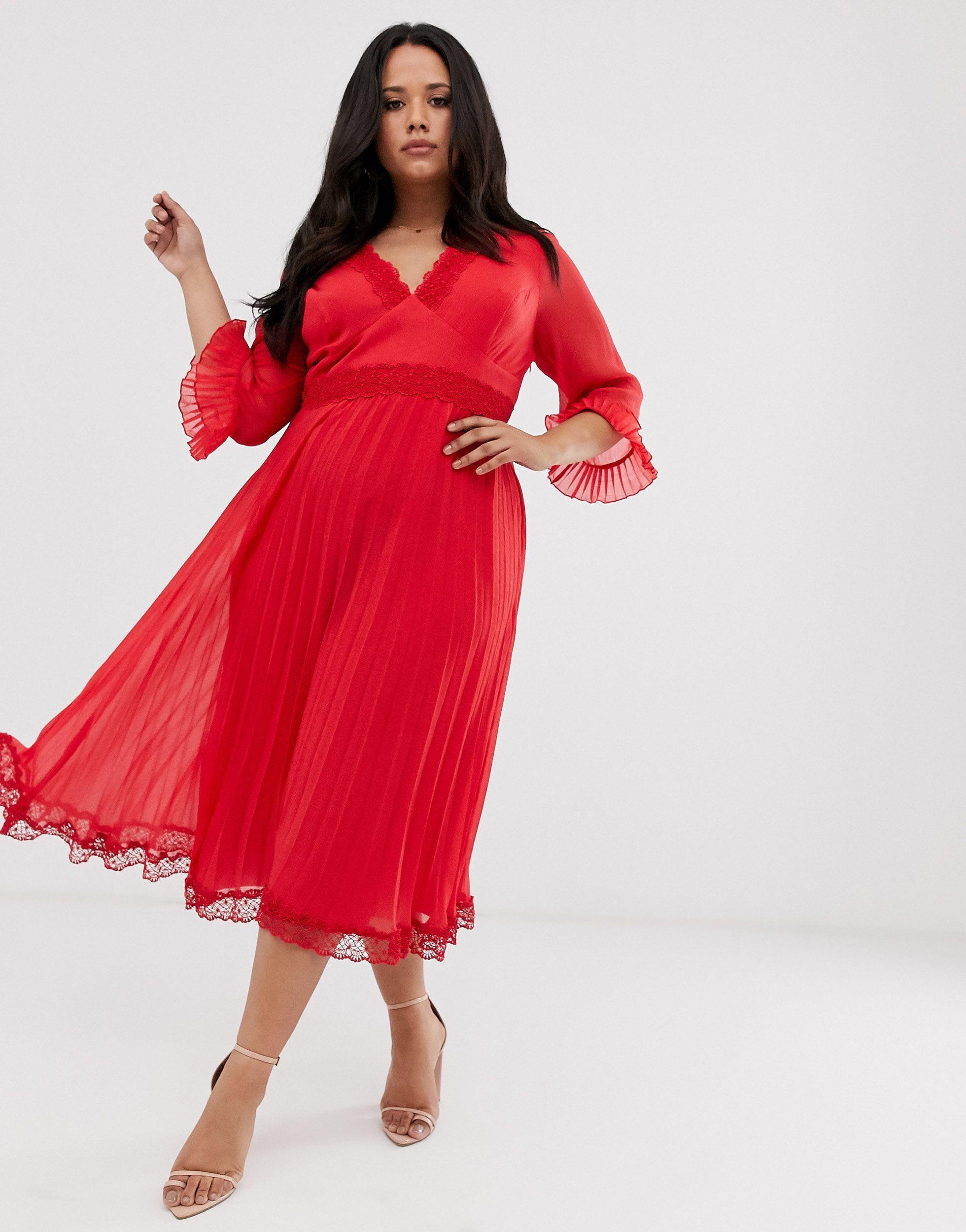 Vestido midi plisado con aplicaciones ASOS de Encaje de color Rojo